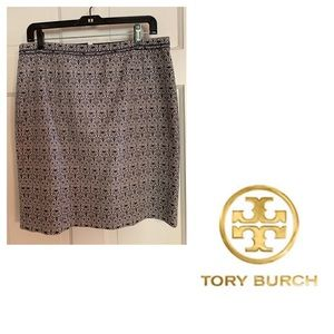 Tory Burch Navy & White Printed Skirt. Size 6